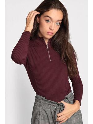 T shirt manches longues cotele violet fonce femme