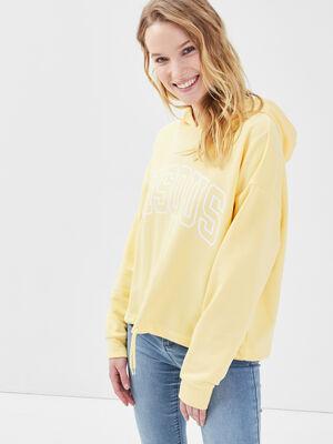 Sweat a capuche jaune pastel femme