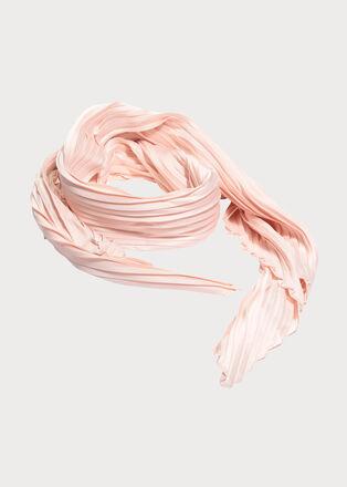 Foulard plisse rose clair femme