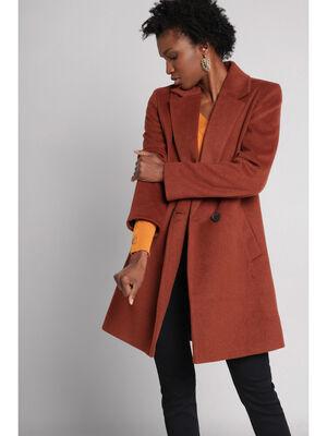 Manteau droit boutonne marron cognac femme