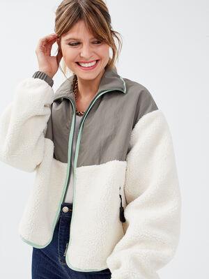 Manteau droit zippe sable femme