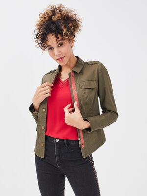 Veste droite boutonnee vert kaki femme