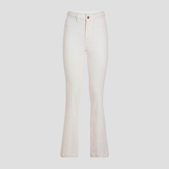 Jeans flare détails tressés ecru femme