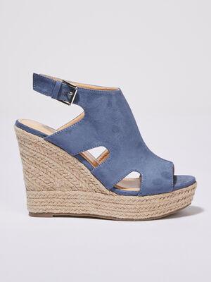 Sandales a talons compenses bleu clair femme