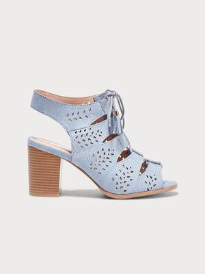 Sandales a talons ghillies denim bleach femme
