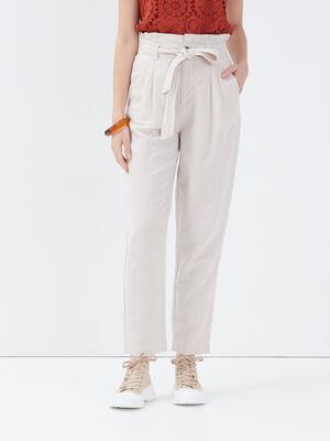 Pantalon paperbag beige femme