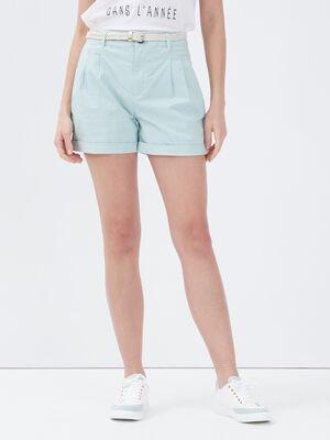 Short chino ceinture vert clair femme
