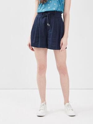Short droit taille elastiquee bleu marine femme