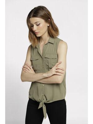 Chemise sans manches a nouer vert kaki femme