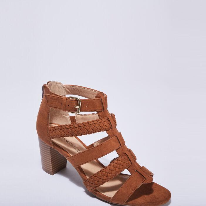 Sandales à talons marron cognac femme