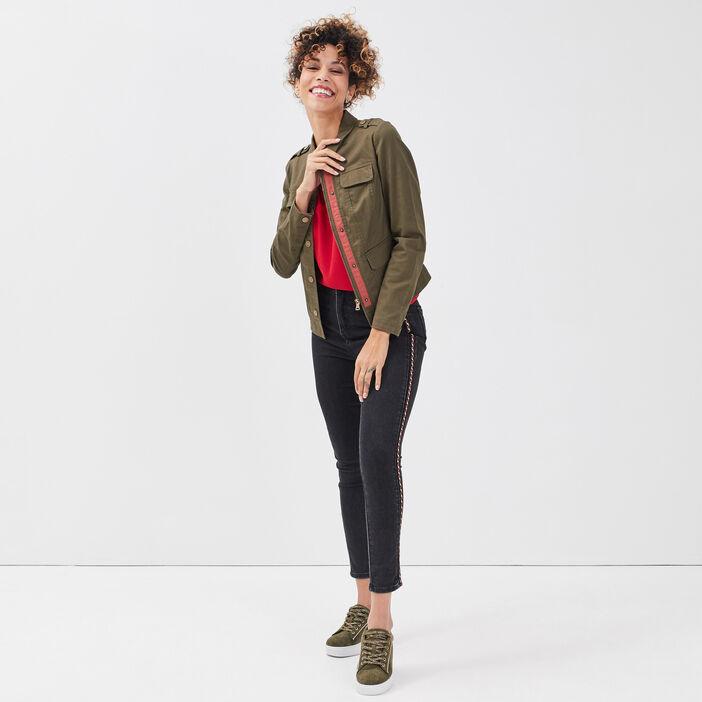Veste droite boutonnée vert kaki femme