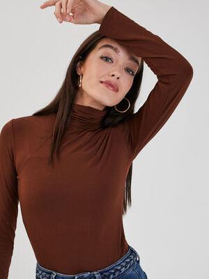 T shirts manches longues marron femme
