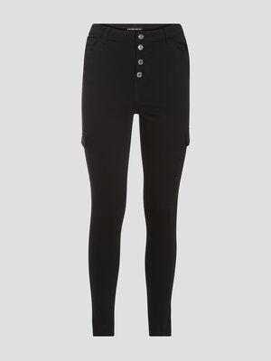 Jeans skinny boutonne noir femme