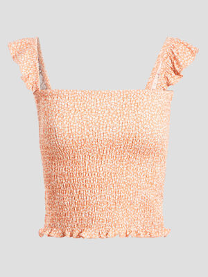 Debardeur bretelles larges orange corail femme