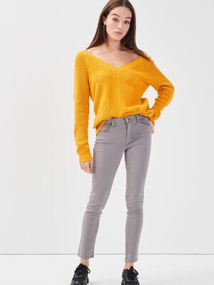 Jeans slim 5 poches gris femme