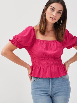 T shirt manches courtes smocke rose fushia femme