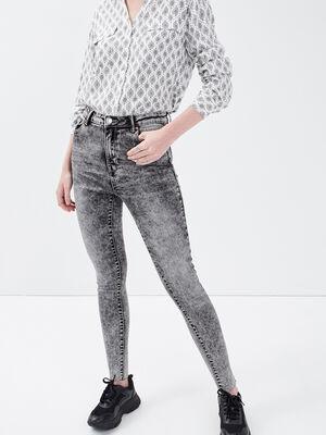 Jeans skinny 78eme destroy denim snow gris femme