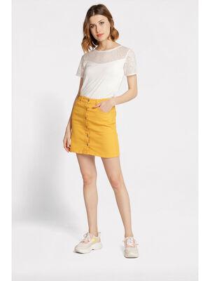 Jupe droite boutonnee jaune or femme