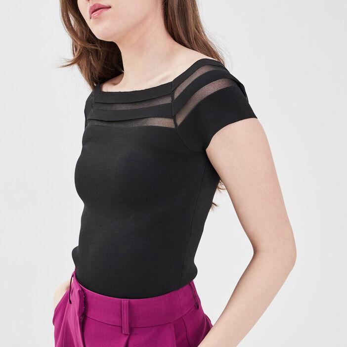 T-shirt avec col bardot noir femme