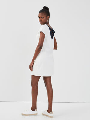 Robe droite manches courtes ecru femme