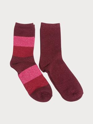 Lot 2 paires chaussettes violet fonce femme