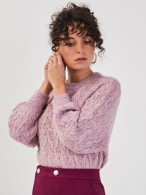 Pull avec torsades violet clair femme