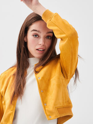Veste teddy droite suedine jaune moutarde femme