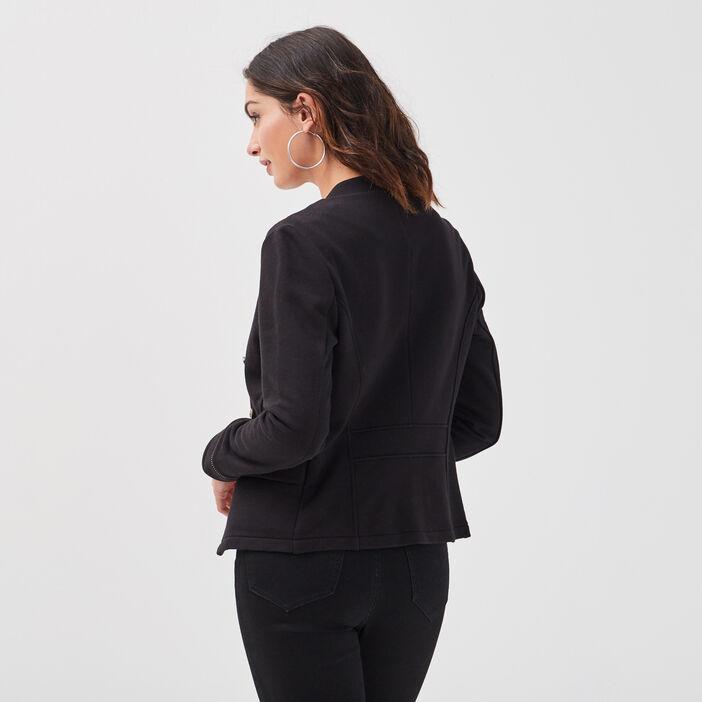 Veste officier ajustée noir femme