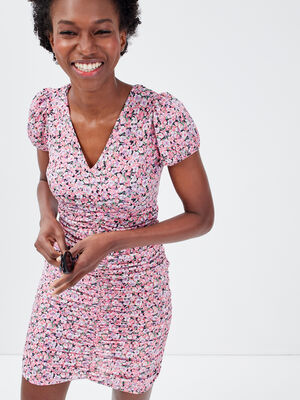 Robe moulante froncee rose femme