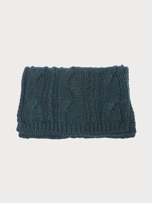 charpe tricotee a torsades vert fonce femme