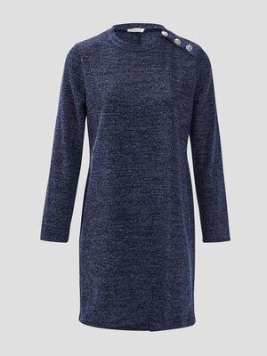 Robe droite avec boutons bleu marine femme