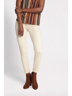 Pantalon slim 5 poches ecru femme