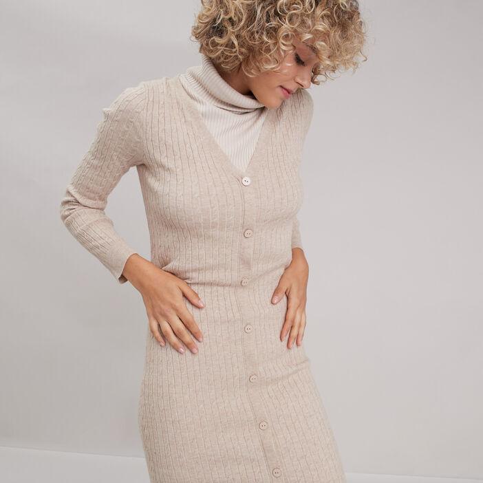 Robe pull longue ajustée sable femme