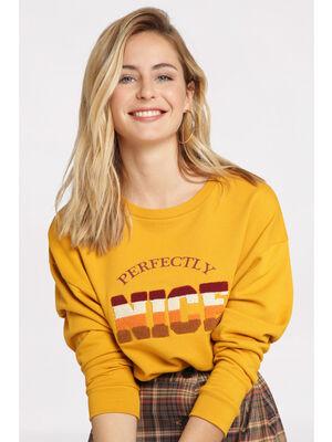 Sweatshirt manches longues camel femme