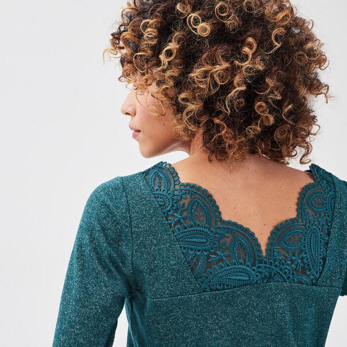 T-shirt manches longues vert foncé femme
