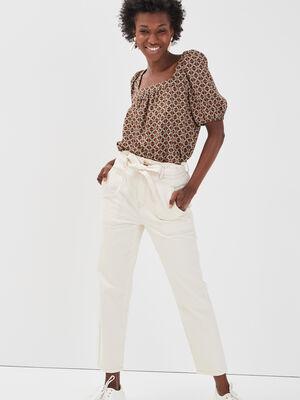 Pantalon paperbag taille haute ecru femme