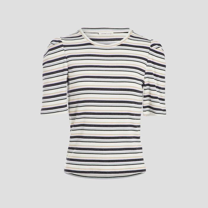T-shirt manches courtes côtelé blanc femme
