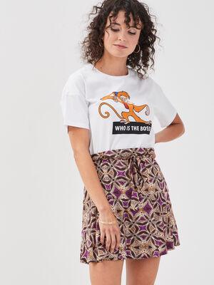 Jupe short evasee fluide marron femme