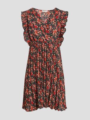 Robe evasee avec bas plisse rouge femme