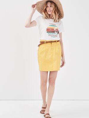 Jupe chino ceinturee jaune femme