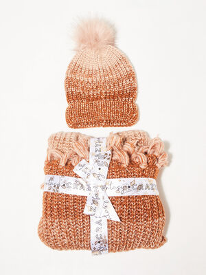 Lot bonnet et echarpe orange fonce femme