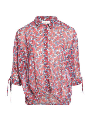 Blouse manches 34 noeud rouge femme