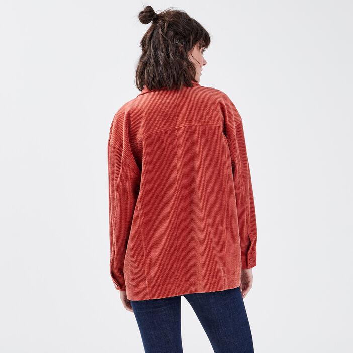 Surchemise manches longues orange foncé femme