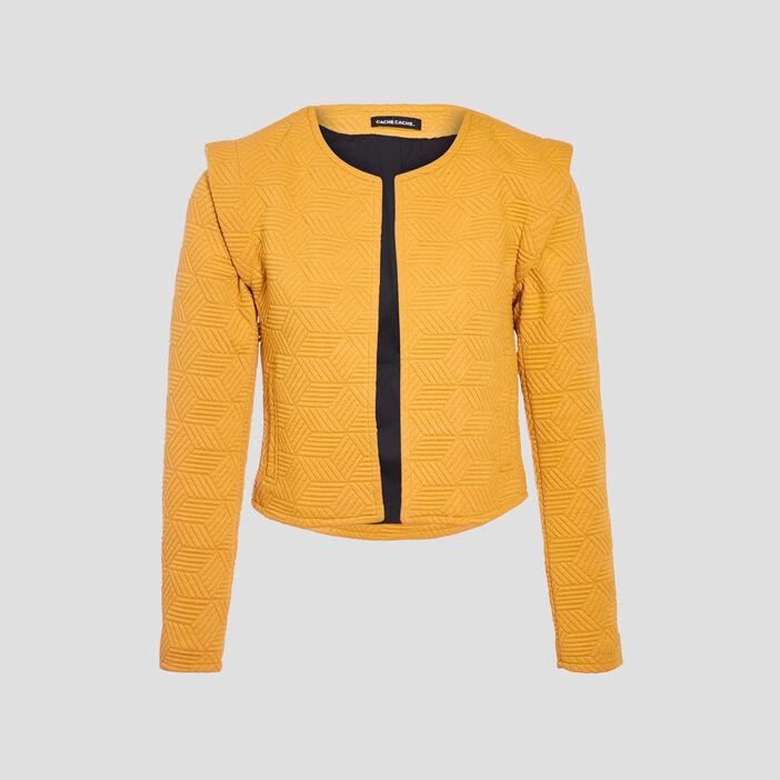 Veste droite avec épaulettes jaune moutarde femme