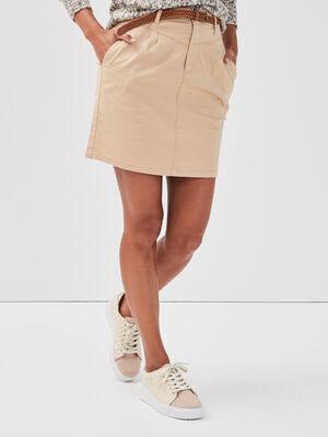 Jupe droite ceinturee beige femme