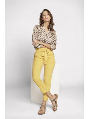 Pantalon fluide a poches jaune or femme