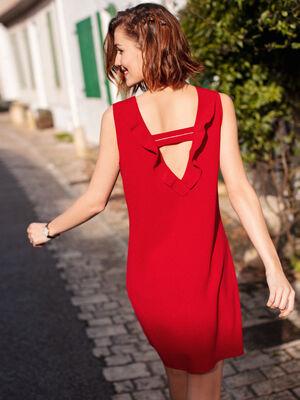 Robe droite encolure volantee rouge fonce femme