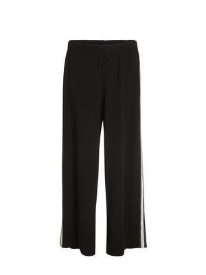 Pantalon large bande cote noir femme