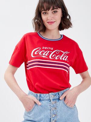 T shirt Coca Cola rouge fluo femme