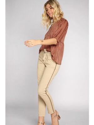 Pantalon chino slim 4 poches beige femme